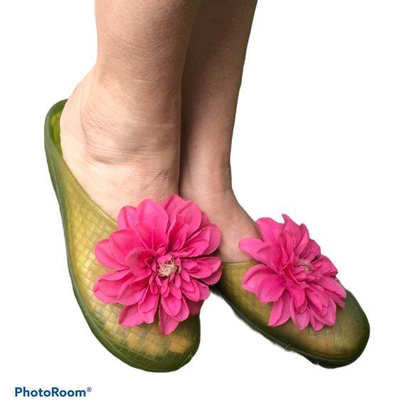 Okabashi Green W/Pink Flower Jelly Clogs Sz 6.5